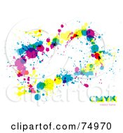 Royalty Free RF Clipart Illustration Of A CMYK Splatter Text Box On White With Sample Text by Anja Kaiser