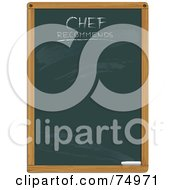Royalty Free RF Clipart Illustration Of A Green Chalkboard With Chef Recommends Text by Anja Kaiser