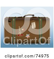 Royalty Free RF Clipart Illustration Of A Brown Retro Suitcase With Travel Stickers by Anja Kaiser