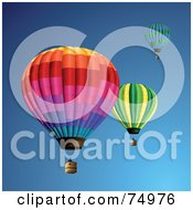 Royalty Free RF Clipart Illustration Of Three Floating Colorful Hot Air Balloons In The Blue Sky