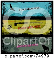 Royalty Free RF Clipart Illustration Of A Digital Collage Of Three Grungy Wildlife Banners With Sample Text by Anja Kaiser