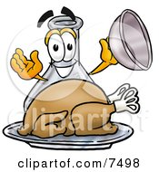 An Erlenmeyer Conical Laboratory Flask Beaker Mascot Cartoon Character Serving A Thanksgiving Turkey On A Platter by Toons4Biz