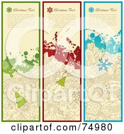 Royalty Free RF Clipart Illustration Of A Digital Collage Of Three Vertical Grungy Christmas Doodle Banners