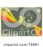 Royalty Free RF Clipart Illustration Of A Grungy Urban Background Of A Jumping Man On A Rainbow Halftone And Gray With Sample Text by Anja Kaiser