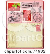 Royalty Free RF Clipart Illustration Of The Back Side Of An Antique Post Card With Christmas Post Marks And Stamps