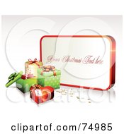 Royalty Free RF Clipart Illustration Of A White And Red Sign With Sample Text Near Christmas Gift Boxes
