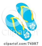 Royalty Free RF Clipart Illustration Of A Pair Of Blue Tropical Flip Flops With Yellow Plastic
