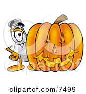 An Erlenmeyer Conical Laboratory Flask Beaker Mascot Cartoon Character With A Carved Halloween Pumpkin by Toons4Biz