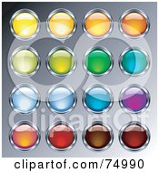Digital Collage Of Shiny Glass And Chrome Round Colorful Buttons On Gray
