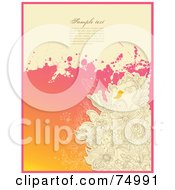 Grungy Beige And Pink Floral Doodle Background With Sample Text