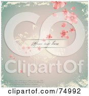 Royalty Free RF Clipart Illustration Of A Vintage Antique Pink Floral Background With Sample Text And Grunge