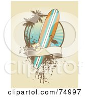 Royalty Free RF Clipart Illustration Of A Grungy Surfboard Flamingo Palm Tree And Banner Design Background