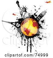 Royalty Free RF Clipart Illustration Of A Orange Globe On A Black Splatter With The Statue Of Liberty Tower Of Pisa Eiffel Tower And Planes by Anja Kaiser