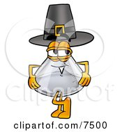 An Erlenmeyer Conical Laboratory Flask Beaker Mascot Cartoon Character Wearing A Pilgrim Hat On Thanksgiving by Toons4Biz