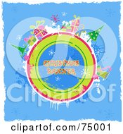 Grungy Blue Christmas Background With Items Around A Circle With Sample Text And White Borders