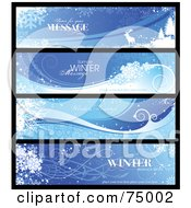 Royalty Free RF Clipart Illustration Of A Digital Collage Of Four Wintry Landscape Banners With Sample Text by Anja Kaiser