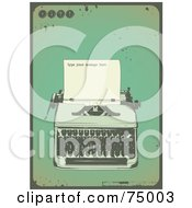 Grungy Green Antique Typewriter Background With Sample Text