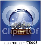 Royalty Free RF Clipart Illustration Of A Winter Village In A Snow Globe