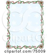 Royalty Free RF Clipart Illustration Of A Blue Snowflake Background Bordered With Christmas Candy Canes And Ribbons by Maria Bell