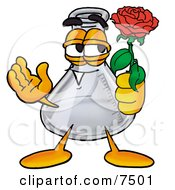 An Erlenmeyer Conical Laboratory Flask Beaker Mascot Cartoon Character Holding A Red Rose On Valentines Day by Toons4Biz