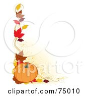 Royalty Free RF Clipart Illustration Of A White Background With A Corner Border Of Autumn Leaves And A Pumpkin by Maria Bell