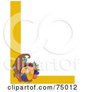 Royalty Free RF Clipart Illustration Of A White Background With A Corner Design Of A Thanksgiving Cornucopia And Yellow Lines by Maria Bell