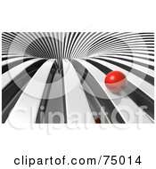 Red Ball Rolling Towards A 3d Chrome Vortex