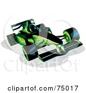 Royalty Free RF Clipart Illustration Of A Green And Black F1 Race Car by Tonis Pan