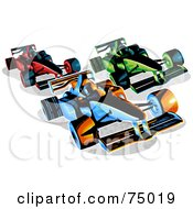 Royalty Free RF Clipart Illustration Of Three Red Green And Blue Racing F1 Race Cars by Tonis Pan
