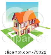 Royalty Free RF Clipart Illustration Of A Multi Story Family Home With Green Lawns by Tonis Pan