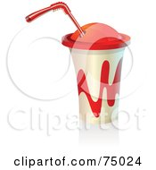Royalty Free RF Clipart Illustration Of A White And Red Plastic Soda Cup