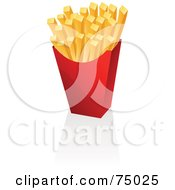 Royalty Free RF Clipart Illustration Of A Red Container Of Fast Food Fries