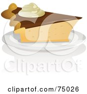 Royalty Free RF Clipart Illustration Of A Slice Of Pie With Chocolate And Whipped Cream