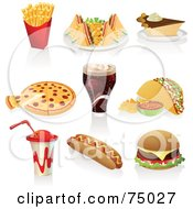 Royalty Free RF Clipart Illustration Of A Digital Collage Of Fast Foods Fries Club Sandwich Pie Pizza Soda Taco Drink Hot Dog And Cheeseburger