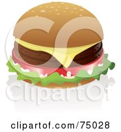 Royalty Free RF Clipart Illustration Of A Cheeseburger With Two Meat Patties And One Slice Of Cheese