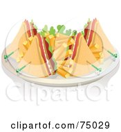 Royalty Free RF Clipart Illustration Of A Plate Of Club Sandwich Wedges And French Fries