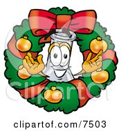 An Erlenmeyer Conical Laboratory Flask Beaker Mascot Cartoon Character In The Center Of A Christmas Wreath