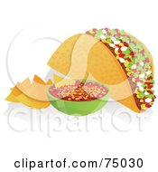Royalty Free RF Clipart Illustration Of A Crunchy Taco With Tortilla Chips And Salsa