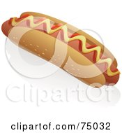 Royalty Free RF Clipart Illustration Of A Hot Dog With Ketchup And Mustard On A Sesame Seed Bun