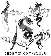 Royalty Free RF Clipart Illustration Of A Digital Collage Of Black And White Dragon Tattoo Design Elements Version 2