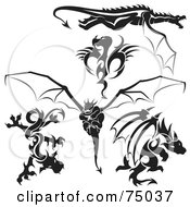 Royalty Free RF Clipart Illustration Of A Digital Collage Of Black And White Dragon Tattoo Design Elements Version 3
