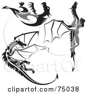 Royalty Free RF Clipart Illustration Of A Digital Collage Of Black And White Dragon Tattoo Design Elements Version 4