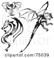 Royalty Free RF Clipart Illustration Of A Digital Collage Of Black And White Dragon Tattoo Design Elements Version 5