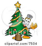 An Erlenmeyer Conical Laboratory Flask Beaker Mascot Cartoon Character Waving And Standing By A Decorated Christmas Tree by Toons4Biz