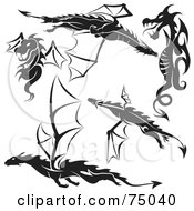 Digital Collage Of Black And White Dragon Tattoo Design Elements Version 1
