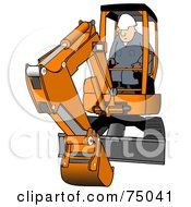 Royalty Free RF Clipart Illustration Of A Construction Worker Operating An Orange Mini Excavator