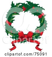 Christmas Wreath Of Holly Red Ribbons And A Bow