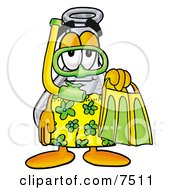 An Erlenmeyer Conical Laboratory Flask Beaker Mascot Cartoon Character In Green And Yellow Snorkel Gear