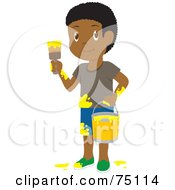 Royalty Free RF Clipart Illustration Of A Little African American Boy Painting With Yellow Paint by Rosie Piter