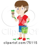Royalty Free RF Clipart Illustration Of A Little Brunette Caucasian Boy Painting With Green Paint